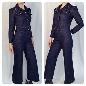 Vintage studded Knit Pant Suit sz Sm
